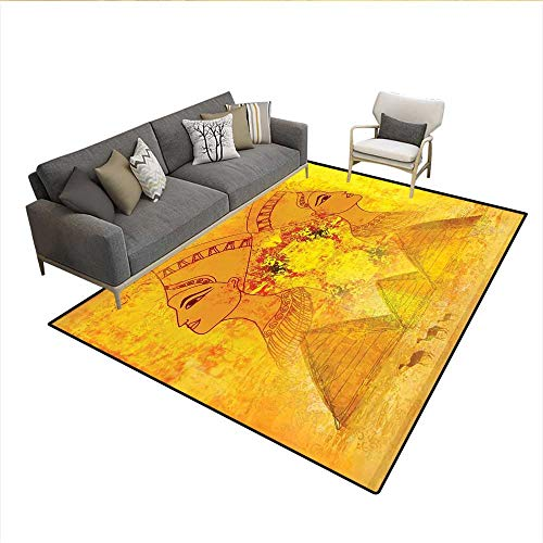 Table Cover Paper Caprice (Floor Mat,Antique Old Paper with Egyptian Queen Portraits Pyramids Camels Image Print,Area Carpet,Orange and Yellow 6'6