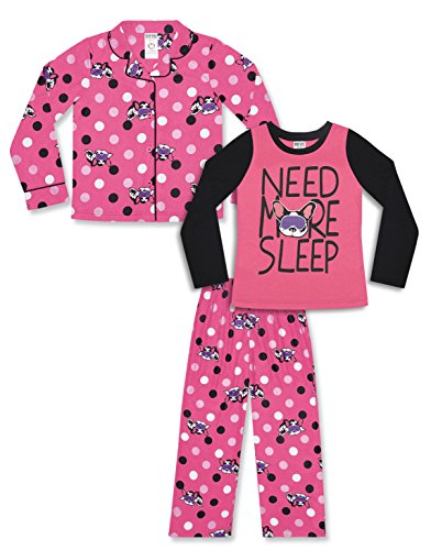 - Girl's 3 Piece Pajama Set – Pink Dog Camo Print (Pink Dog Print, Small (6-6X))