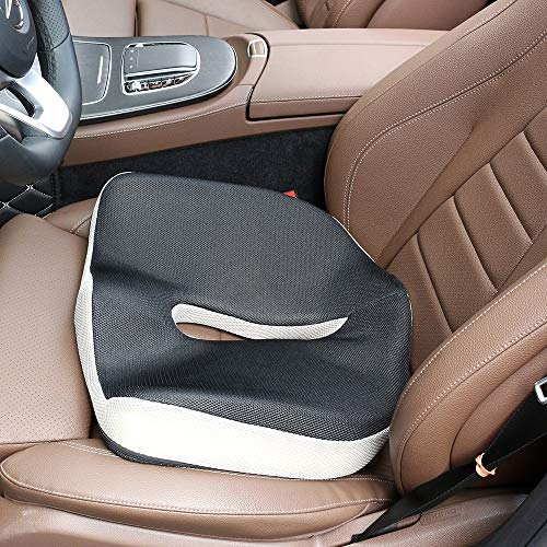 NIANPU Ergonomic Memory Foam Seat Cushion - Comfort Breathable Mesh Cover Cushion Provides Relief for Back Pain, Sciatica, Tailbone, Hip Shaping - Perfect for Car, Wheelchair, Office Chair (Ergonomic Seat Wedge)