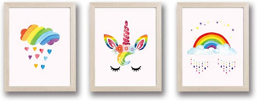 "Framed Adorable Unicorn Rainbow Art Print Set of 3 (10""X8"")-Ready to Hang Eyelashes Cloud Heart Dots Wall Canvas Poster for Girls Bedroom Nursery"