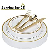 125-Piece Elegant Plastic Plates & Cutlery Set Service for 25 Disposable Place Setting Includes: 25 Dinner Plates, 25 Dessert Plates, 25 Forks, 25 Knives, 25 Spoons (Gold Rim) - Stock Your Home