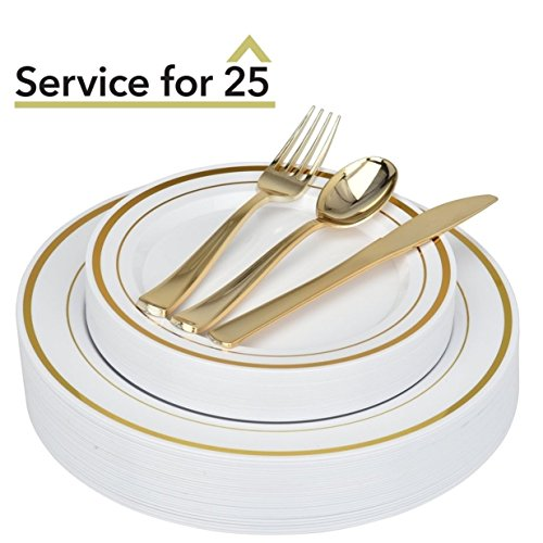 (125-Piece Elegant Plastic Plates & Cutlery Set Service for 25 Disposable Place Setting Includes: 25 Dinner Plates, 25 Dessert Plates, 25 Forks, 25 Knives, 25 Spoons (Gold Rim) - Stock Your Home)