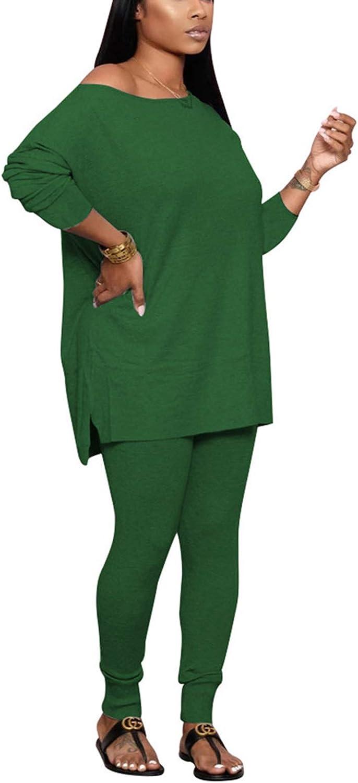 Womens Casual 2 Piece Outfits Tracksuit Off Shoulder Oversize T Shirt Top + Skinny Long Pants Jumpsuit Set Sportwear