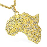Davieslee Womens Mens Chain Africa Map Pendant Necklace Yellow Gold Plated GP Iced Out Paved Rhinestones Bling Bling Jewelry Hiphop