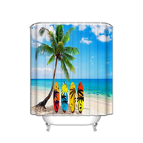 (Fabric Shower Curtain Beach Palm Tree Surf Boards Durable Polyester Fabric Bathroom Set with Hooks,Sea House Decor,66x72inch)