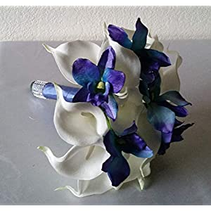 Peacock Purple Blue Turquoise Orchid Calla Lily Bridal Wedding Bouquet & Boutonniere 2