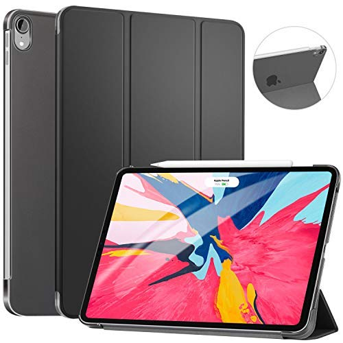 Ztotop Case For Ipad Pro 11 2018 Slim Lightweight Trifold Stand Smart Shell With Auto Wake Sleep Rugged Translucent Back Cover Support Ipad Pencil Charging For Ipad Pro 11 Black