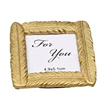 MagiDeal Novelty Gold Feather Small Photo Frame with Back Stand Wedding Party Favor