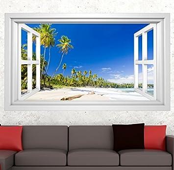 3D Wandmotiv Strand Sand Urlaub Wasser Meer Palme Fenster Wandbild ...