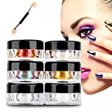 Franterd 12 Colors Nail Mirror Art Make Up Body Glitter Shimmer Dust Powder Decoration - DIY Chrome Pigment With Sponge Stick