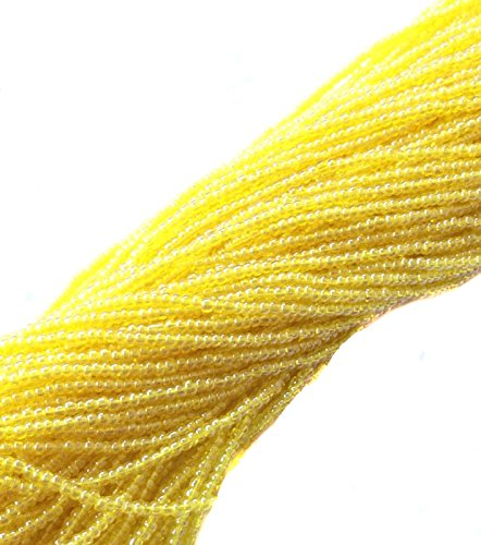 (15/0 Two Hanks Czech Transparent Yellow Glass Seed Beads-24 Strands Spacer Beads and Roll Crystal String for Bracelets Jewelry Making )