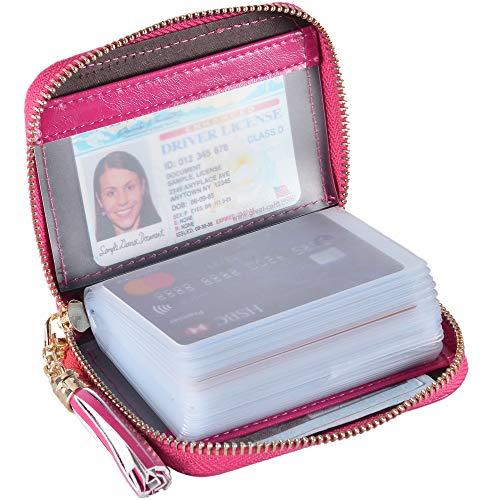 Credit Card Holder Wallet - Yuhan Pretty Womens Credit Card Holder Wallet RFID Leather Small ID Card Case (20 Card Slots - Rose2)