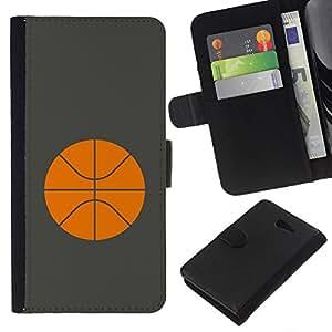 Planetar® Modelo colorido cuero carpeta tirón caso cubierta piel Holster Funda protección Para Sony Xperia M2 / M2 dual ( Basketball Orange Minimalist Sport )