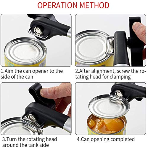Manual Can Opener with Soft Grips Handle, Safe Cut Manual Can Opener, Food Grade Stainless Steel Can Opener for Kitchen & Restaurant
