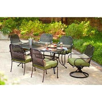 hampton bay fall river 7 piece patio dining set with moss cushion rh amazon ca