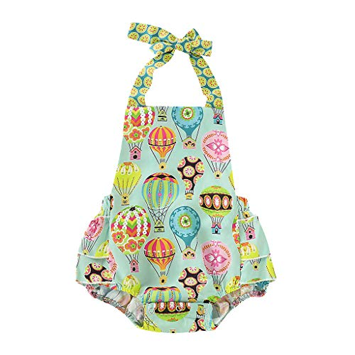 - AutumnFall Summer Infant Baby Boys&Girls Sleeveless Cartoon Hot Air Balloon Print Piece Jumpsuit Romper Bodysuit (Age:3-6 Months, Green)