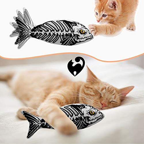 Ospetty Halloween Catnip Moving Fish Cat Toy Electric Dancing Fish Catnip Kicker Interactive Realistic Floppy Fish Toy Lifetime Replacement Guarantee 24