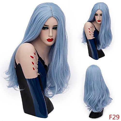 Synthetic Wigs Halloween Long Big Wavy Curly Hair Blue Colorful Fiber for Costume Party& Fancy Dress 26 (Realistic Dreadlock Wig)