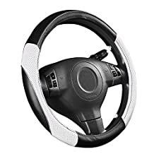 NEW ARRIVAL- CAR PASS RAINBOW UNIVERSAL FIT Steering Wheel Cover With PVC Leather (black with white)