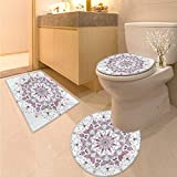 Anhuthree Purple Mandala Bath Rug Set Lacy Pastel Floral with Butterfly and Lotus Figures Meditation Design Elongated Toilet Lid Cover Set White Pale Pink