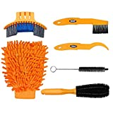Henryu Bike Cleaning Kit 6-piece Set, 5 Professional Brushes + 1 Coral Fleece Grove,Fit For Cleaning All Bike