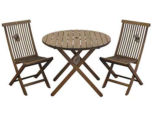 Milano Bistro (Butzke Mestra Eucalyptus Folding Table and 2 Folding Chairs,)