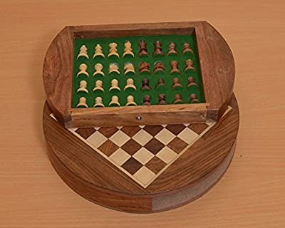 Chessbazaar Travel Series Round Magnetic Fitted Chess Set In Shesham & Box Wood 9 Inches