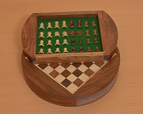 Chessbazaar Travel Series Round Magnetic Fitted Chess Set In Shesham & Box Wood 9 Inches by Chessbazaar