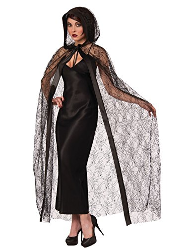Spider Web Cape Costume (Sheer Spider Web Hooded Cape)