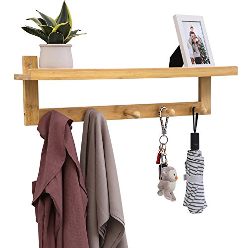SONGMICS Coat Hook Shelf with 5 Bamboo Hooks, Wall Mounted Coat Rack with Storage, Hanging Entryway Shelf, Ideal for Living Room Bedroom Bathroom and Kitchen Natural Grain URCR105N (Wall Natural Wood Rack)