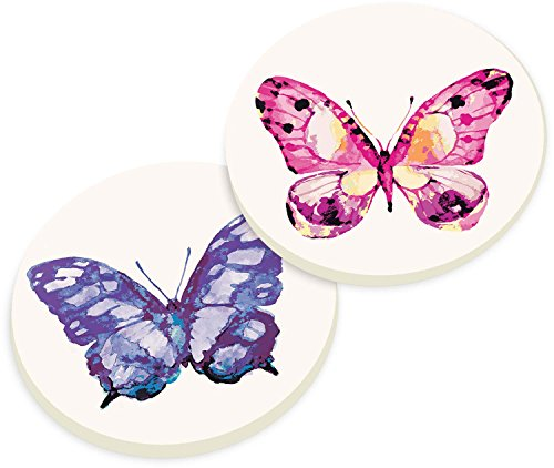 Price comparison product image Watercolor Butterfly Pink and Purple 2 Piece Ceramic Car Coaster Set