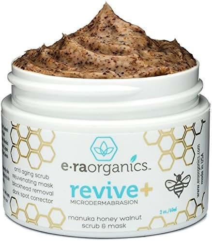 Microdermabrasion Facial Scrub & Face Exfoliator - Natural Exfoliating Face Mask with Manuka Honey & Walnut - Moisturizing Facial Exfoliant for Dull Dry Skin, Wrinkles, Acne Scars & More Era-Organics