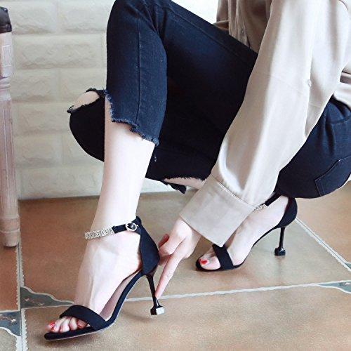 sandali lady cava punta europeo stile YMFIE estate black diamante di In trimestre scarpe tacco punta alto xvq4aPw