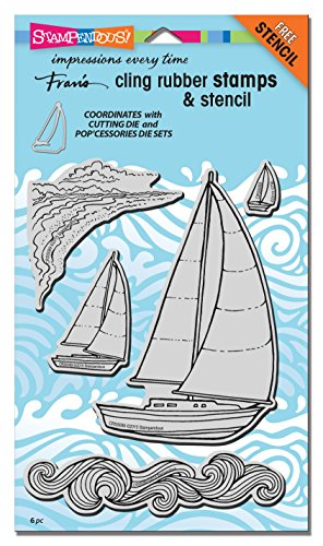 Stampendous Cling Rubber Stamp Set, Sailboats with Template by STAMPENDOUS