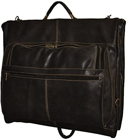 David King & Co. Distressed Leather Garment Bag, Cafe, One Size