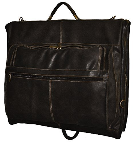 David King & Co. Distressed Leather Garment Bag, Cafe, One Size by David King & Co