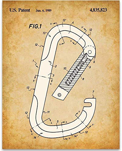 Snap Hook Carabiner - 11x14 Unframed Patent Print - Great Gift Under $15 for Mountain or Rock Climbers