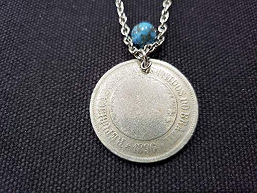 CoinageArt Antique Coin Necklace 200 Reis from Brazil dated 1896-1889 with Turquoise Gemstone on Brilliant Stainless Steel Chain - Antique Coin Pendant 136
