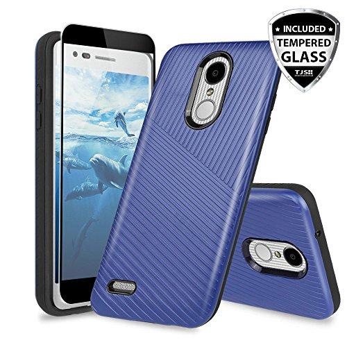 TJS Case for LG Aristo 2/Aristo 2 Plus/Aristo 3/Aristo 3 Plus/Tribute Dynasty/Tribute Empire/Fortune 2/Rebel 3 LTE [Full Coverage Tempered Glass Screen Protector] Hybrid Armor Hard Phone Cover (Blue)