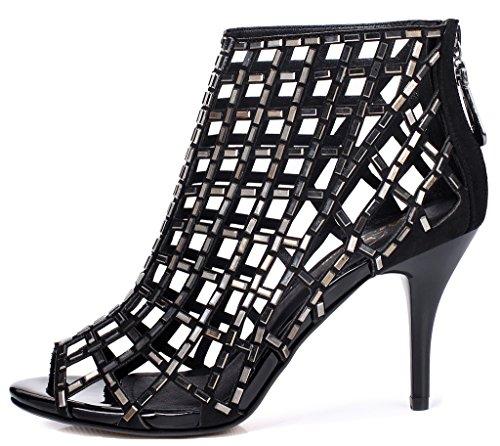 LizForm Women Cutout Sandal Boots Open Toe Studded Stiletto Sandals Dress High Heels Shoes Black nKljO