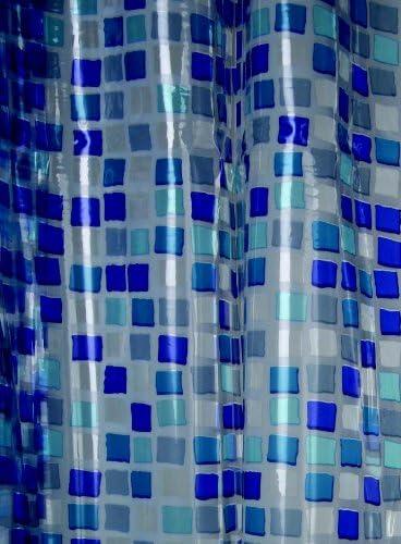Blue Canyon Rideau de Douche en PVC Motif mosa/ïque Bleu