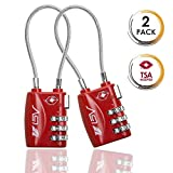 TSA Approved Luggage Travel Lock 2 Pack, Set-Your-Own Combination Lock for School Gym Locker,Luggage Suitcase Baggage Locks,Filing Cabinets,Toolbox,Case (Red)