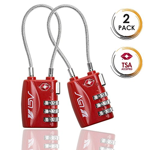 TSA Approved Luggage Travel Lock, Set-Your-Own Combination Lock for Suitcases, Bags and Gym Lockers, 2 Pack by BV