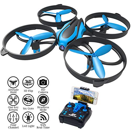 RCtown Drone with Camera Live Video, ELF II HW Mini WiFi FPV Drone for Kids, Altitude Hold Height Headless Mode 3D 360