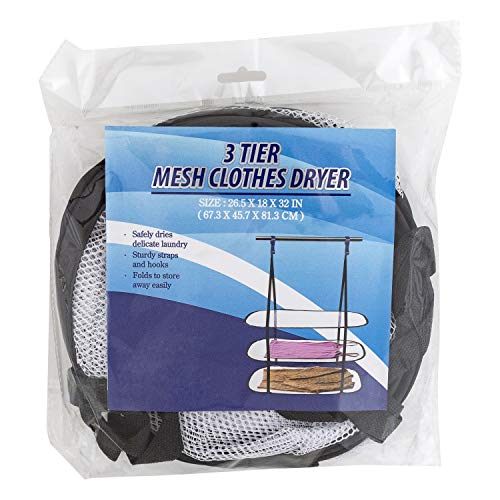 BIGLEEF Mesh Clothes Hanging Dryer - 3 Tier Foldable Laundry Air Drying Rack with Hooks for Delicates, Sweaters, Lingerie, Bathing Suits - 10 lb. Capacity (Sweater Drying Rack Mesh)