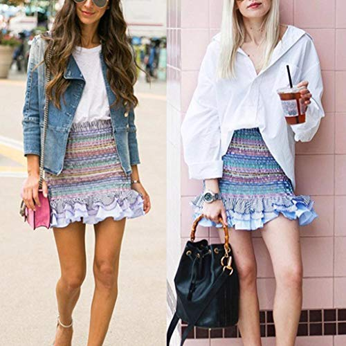 Lavany  Women's Ruffled Beach Skirt Sexy High Waist Stripe Summer Skirts for Girls Blue by Lavany  (Image #1)