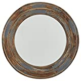 Stone & Beam Round Distressed Wood Mirror, 23.4″H, Antiqued Finish For Sale