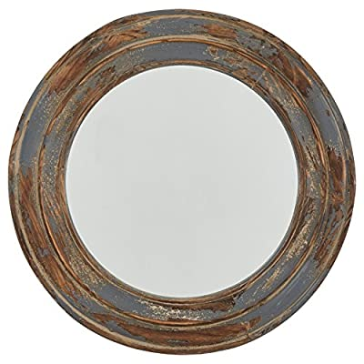 "Stone & Beam Round Distressed Rustic Wood Hanging Wall Mirror Decor, 23.4 Inch Height, Antiqued Finish - A distressed wood frame gives this mirror a vintage feel, and the weathered blue paint gives it substantial depth and texture. Hang it in any bedroom, hallway or living room where you want to add a rustic touch. 23.4"" Diameter Rustic distressed wood - bathroom-mirrors, bathroom-accessories, bathroom - 51MDmaV9ueL. SS400  -"