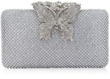 Dexmay Rhinestone Crystal Clutch Purse Butterfly Clasp Women Evening Bag for Formal Party Silver