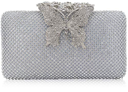 Dexmay Rhinestone Crystal Clutch Purse Butterfly Clasp Women Evening Bag for Formal Party Silver ()